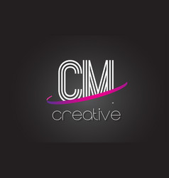 cm c m letter logo with lines design and purple vector image
