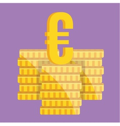 Coin Stacks and Euro Sign Icon vector