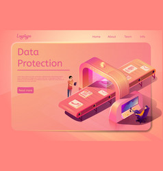 Corporate data protection web page template vector