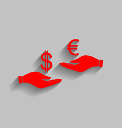 Currency exchange from hand to hand dollar adn vector