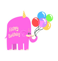 Cute cartoon pink elephant in an party hat with a vector