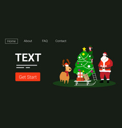 cute elf santa and deer standing together near fir vector image