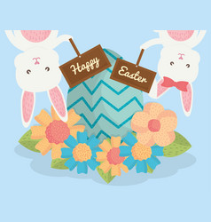 cute rabbits with easter eggs painted and flowers vector image