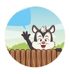 Cute skunk cartoon vector