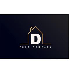 d house alphabet letter icon logo design house vector image