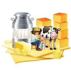 Dairy farmer with cheese vector image