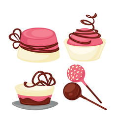 Delicious desserts with chocolate and strawberry vector