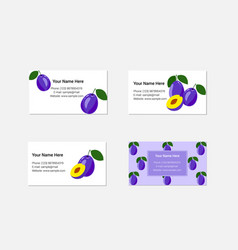 Design of business cards with fresh plum vector