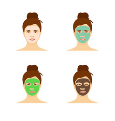 different types facial masks and skin care set vector image