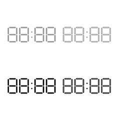 digital clock face icon outline set grey black vector image