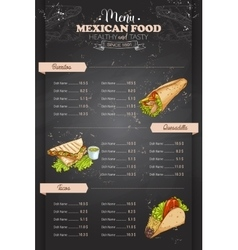 Drawing vertical color mexican food menu vector image