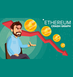 Ethereum crash graph surprised investor vector