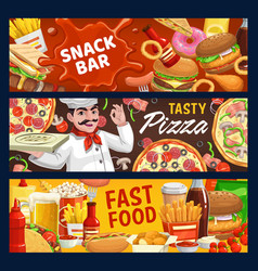Fast food and snack bar cartoon banners vector