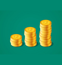 financial growth concept with stacks of vector image