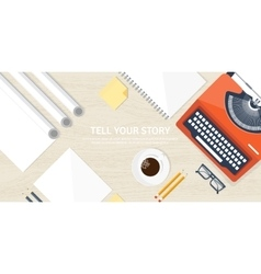 Flat typewriter Tell your vector image