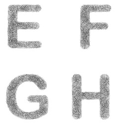 Furry sketch font set - letters E F G H vector image