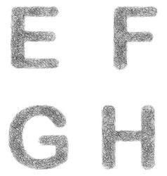 Furry sketch font set - letters e f g h vector