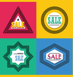 Geometrical line shapes sale emblems icons set vector