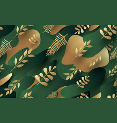 Gold leaves pattern luxury green and vector