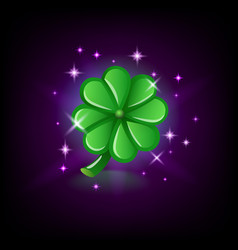 green four-leaf clover with sparkles luck symbol vector image