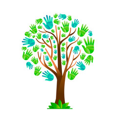 Green hand tree for nature help teamwork vector