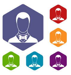 groom icons set vector image