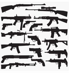 Guns silhouettes vector
