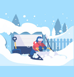 Guy cleans snow after snowfall vector