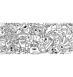 hand drawing doodle cute monster vector image