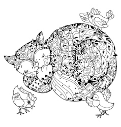 Hand drawn doodle outline cat sleeping vector