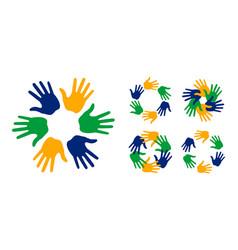 hand print icons using brazil flag colors set vector image