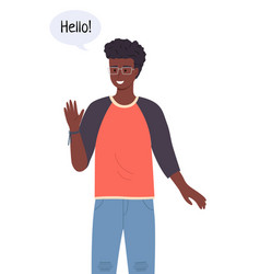 Handsome black or ethnic teenage boy or young man vector