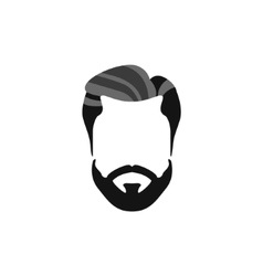 Hipster Male Hair and Facial Style With Beard vector