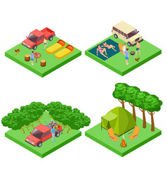 isometric 3d camping location set vector image