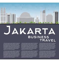 Jakarta skyline with grey landmarks vector