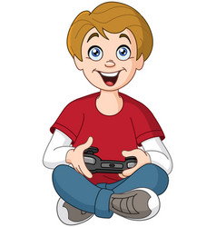Kid playing video game vector