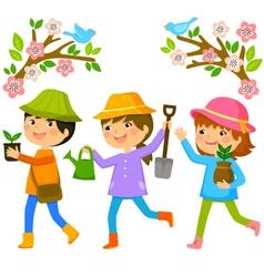 Kids planting trees vector
