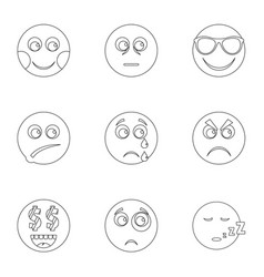 Kind icons set outline style vector