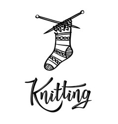 Knitting lettering logo with sock vector