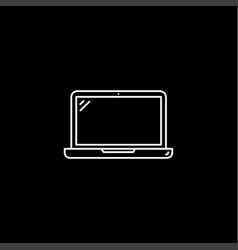 laptop line icon on black background black flat vector image