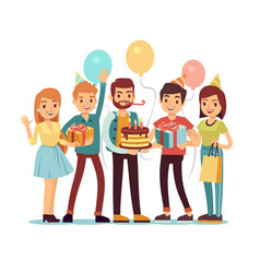 laughing and smiling people with gifts and cake vector image