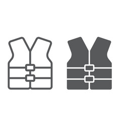 Life vest line and glyph icon safety vector