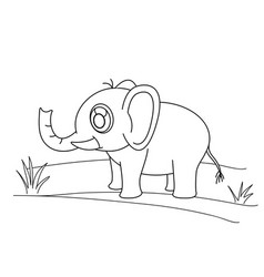 Line drawing elephant and grass for kids painting vector