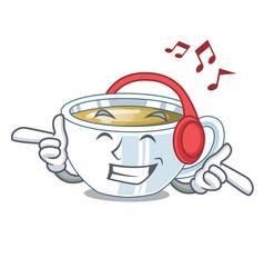 Listening music ginger tea in cartoon shape vector