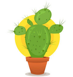 Little cactus in pot vector