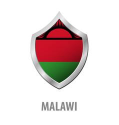 Malawi flag on metal shiny shield vector