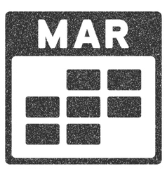 March Calendar Grid Grainy Texture Icon vector