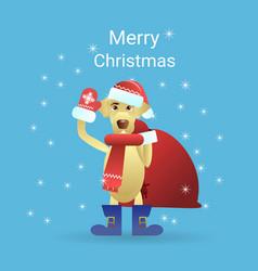 Merry christmas greeting card dog wearing santa vector