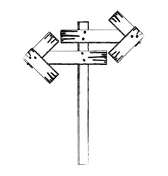 Monochrome contour wooden sign for directions vector