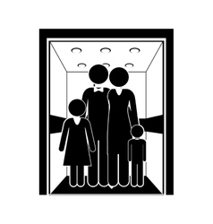 people in elevator design vector image
